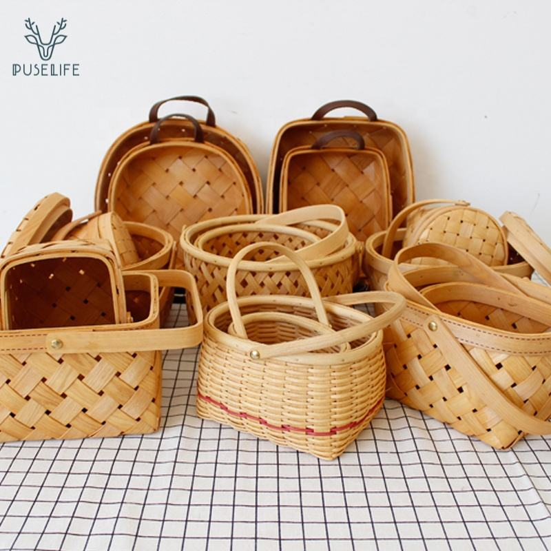 Hot Selling Rattan weaving wicker round rattan woven bread fruit vegetable egg basket picnic wood storage basket for 4 person