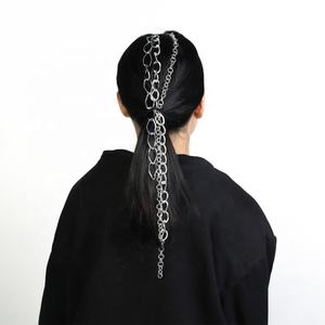 Punk Hair Accessories for Women Multilayer Long Thick Metal Hair Chain