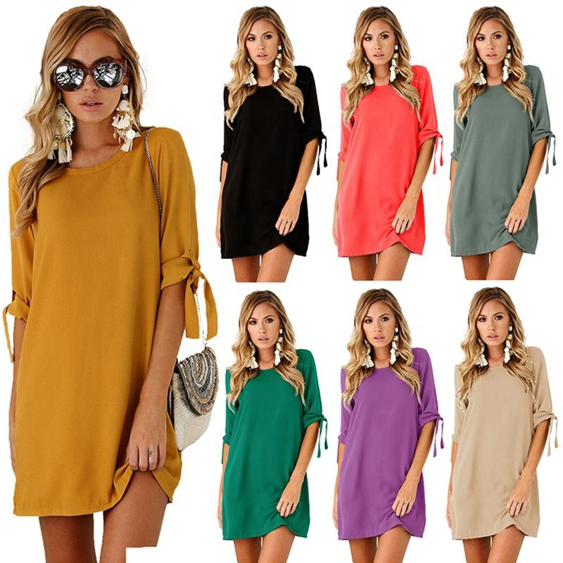 New Fashion Women Wholesale New Style Round Neck Half Sleeve Solid Color Casual Dress Girls Short Dress