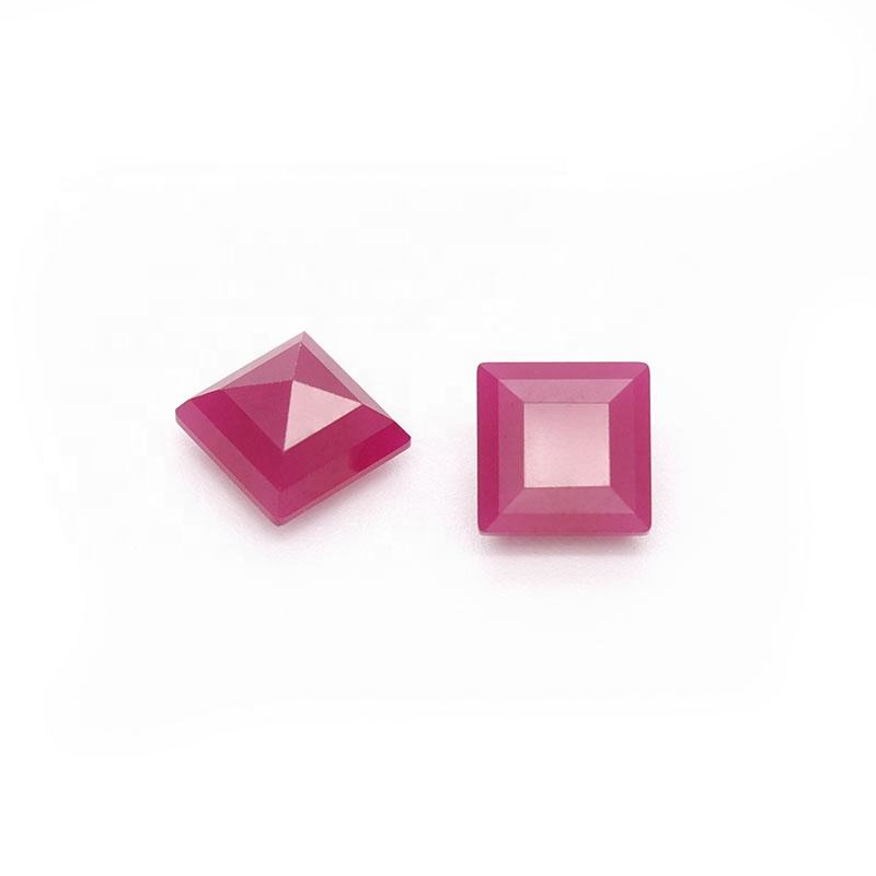 Free Sample 10mm Square Rose Red Opaque Ruby Synthetic Ruby Stone Prices
