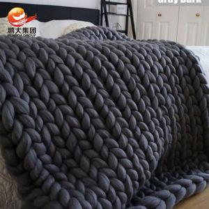 china manufacturer baby bedding soft arm knitted woven chunky polyester yarn braid blanket