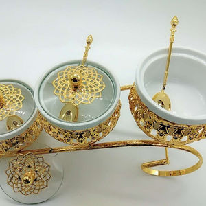2020 decorative gold 3pcs sugar bowl spice pot with spoon sugar jars