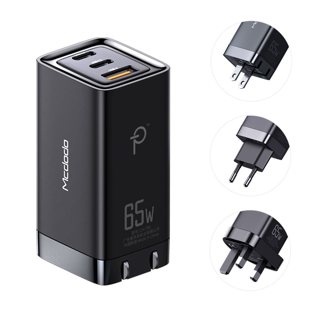 Ce Rohs Kc Hot Pd Qc3.0 3 Port Charger Usb C Quick Charge Fast Usb Charger EU UK KR Pin Pd GaN Adapter 65W GaN Charger