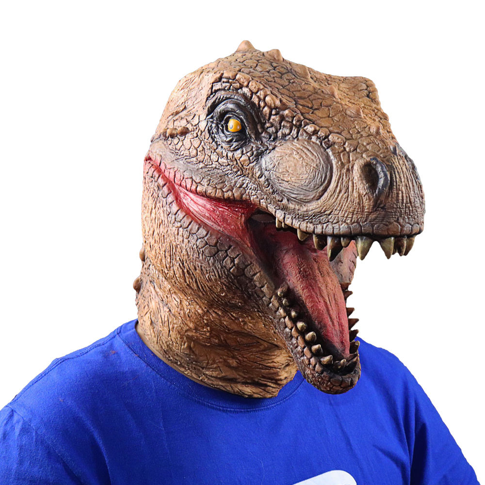 Realistic T-Rex Dinosaur Mask Jurassic World Cosplay Mask Adults Animal Costume Party Mask headgear Supplies