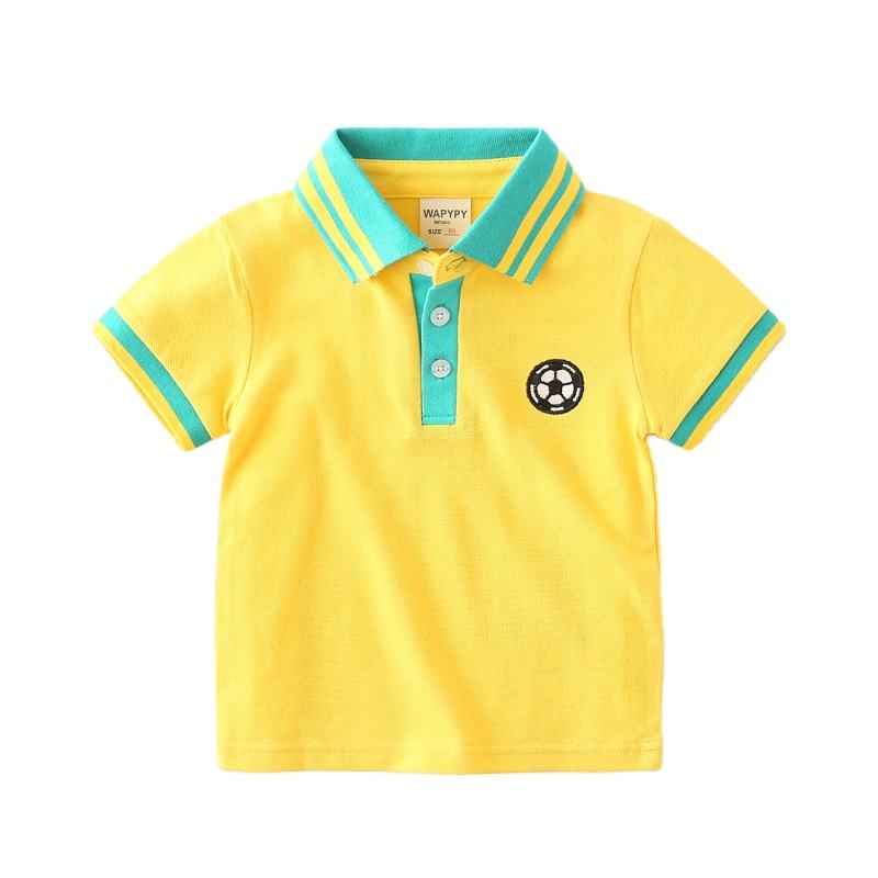 Boy Summer Lapel Sports Shirts Children Short Sleeve Polo Shirts Outdoor Casual Football Sport T-shirts Creative Kids Clothing