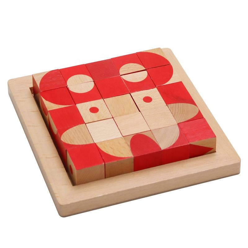 Wooden building blocks game Kiss brain cube block toy