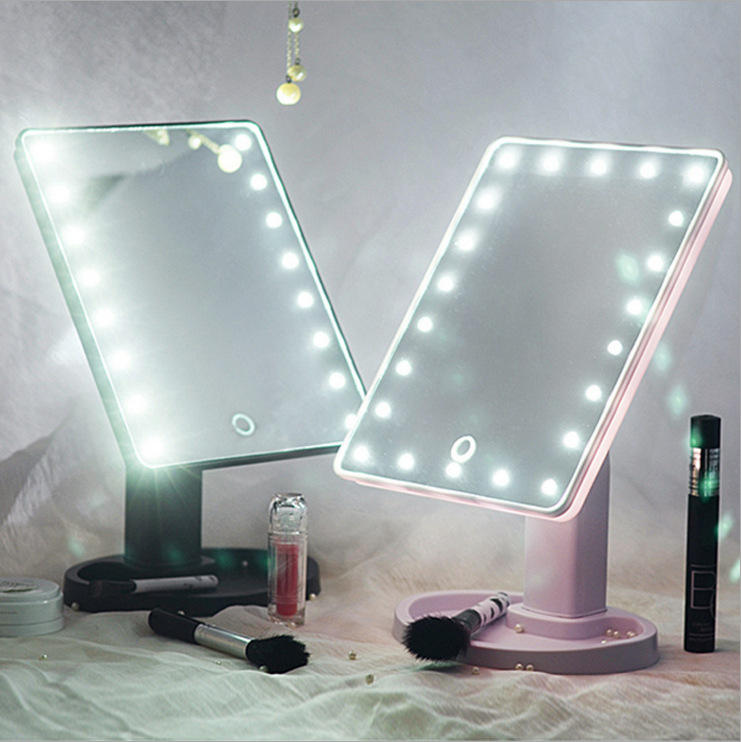 Private Label Foldable Square Makeup Mirror OEM 16/22 LED Light Cosmetic Mirror