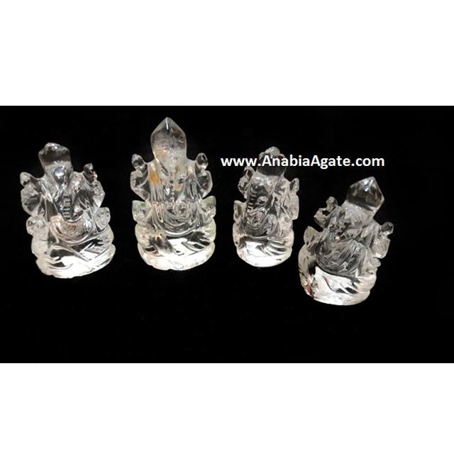 Crystal Quartz Gemstone Ganesha Idol Sculpture Agate Lord Ganesha Crystal Quartz Pocket idol Carving