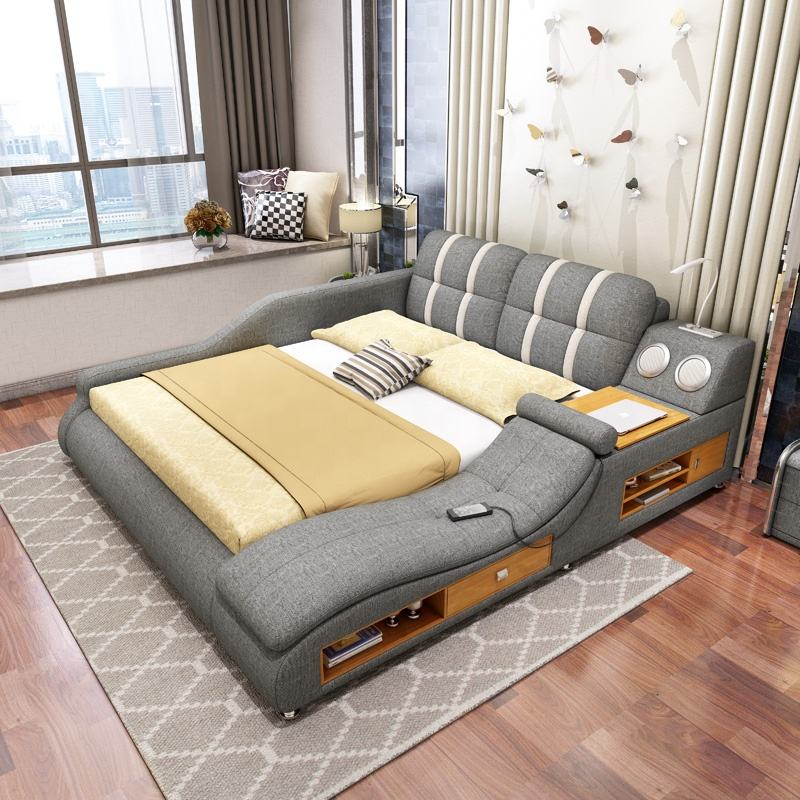 Factory Modern Fabric Soft Bed Luxury Multi-function Bed With Drawers Solid Wood Bedroom Set