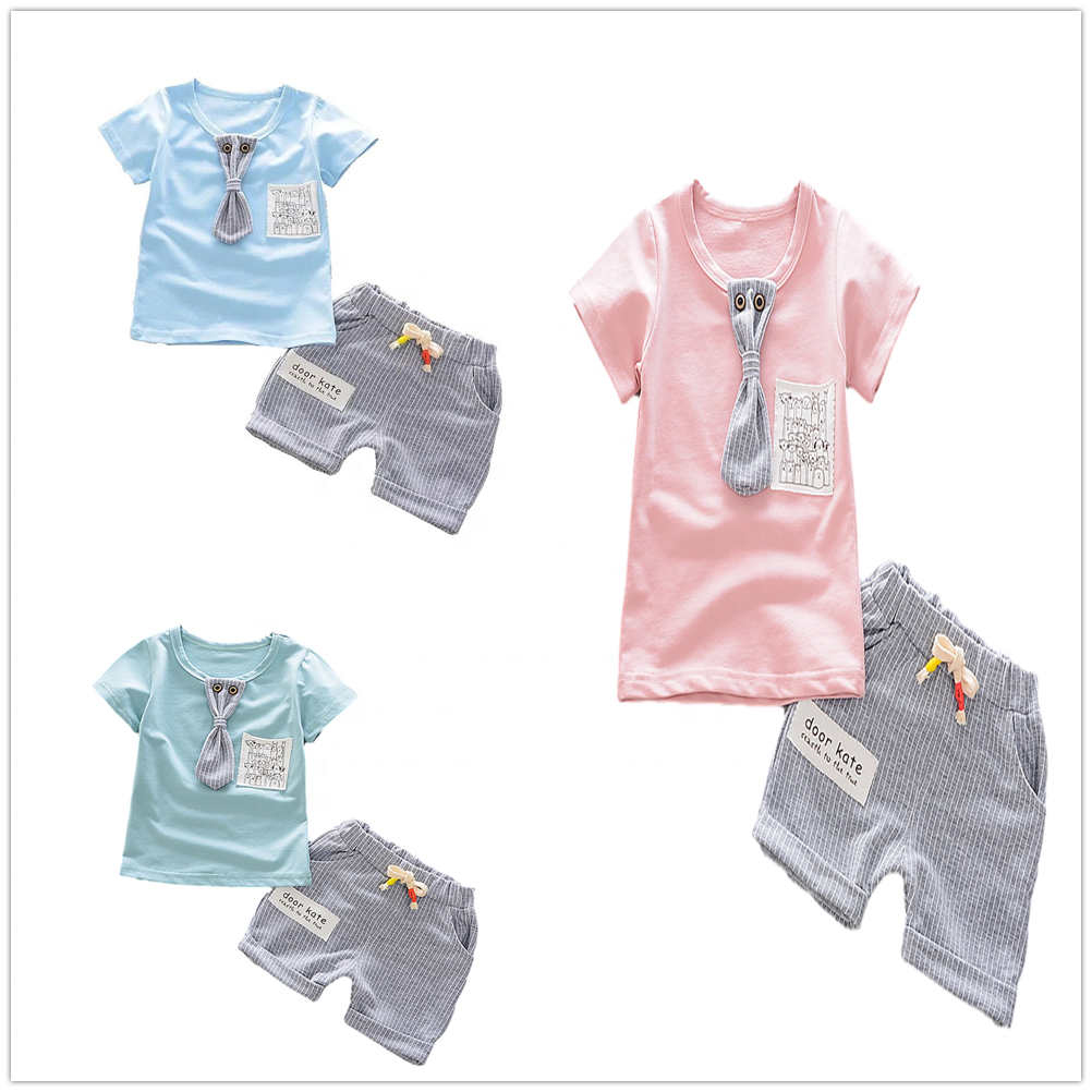 Hot sale baby boy summer clothes 2 pieces sets bulk wholesale kids clothing
