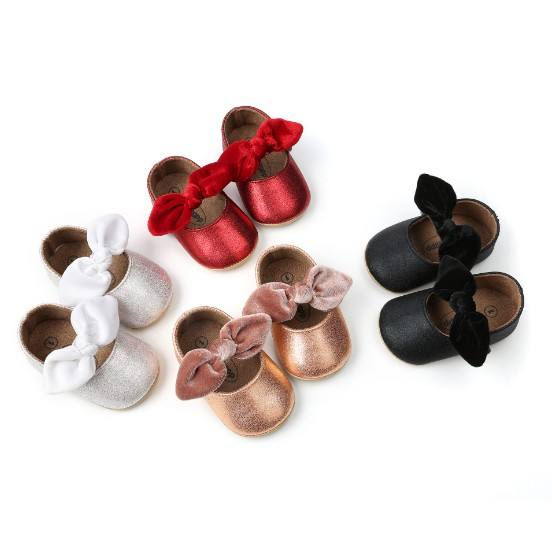 New Born Baby Girl Toddler Shoes Princess Bow Design Soft Shoes