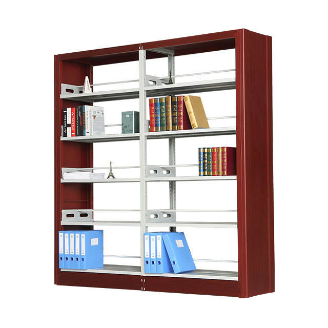 Fashionable metal double column bookshelf for library