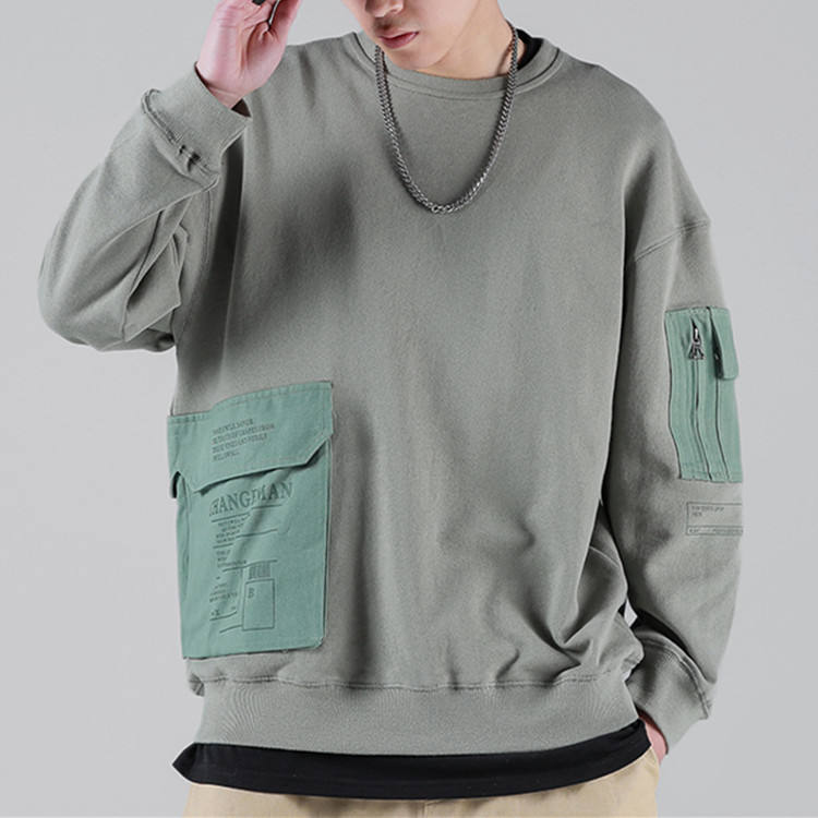 Custom Crewneck High Quality Logo Printed Sweatshirts Mens Pocket Streetwear Sweatshirts No Hood