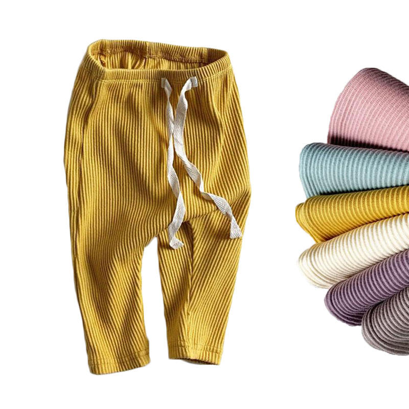 Baby Boys Girls Solid Leggings Toddler Ribbed Pp Pants Little Boy Casual Harems Pants Kids Trousers