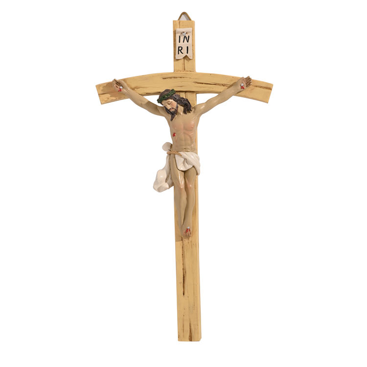 Low moq standing crucifixreligious resin stand church decoration cross jesus figurine