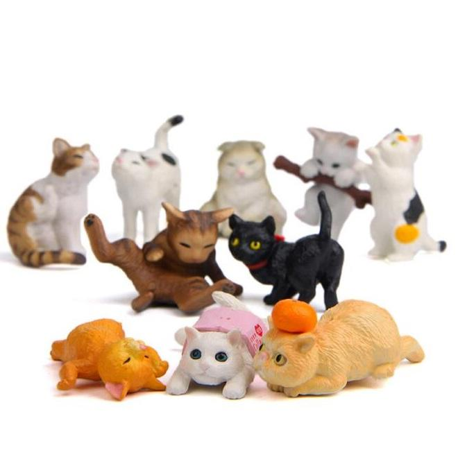 Playing Cat Figurine Miniature Lifelike Kitten Animal Decoration mini fairy garden Cartoon statue craft Home Car Decorative