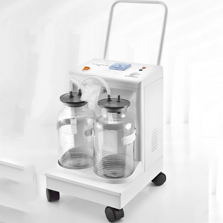 Medical electric suction pump apparatus aspirator double bottles suction trolley unit machine vaccum suction jar