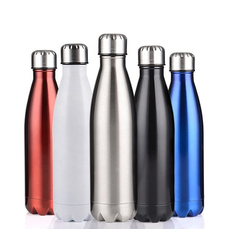 keep cold 24hrs 500ml Eco-Friendly double wall stainless steel insulated cola shape vacuum thermal sports chilly water bottle