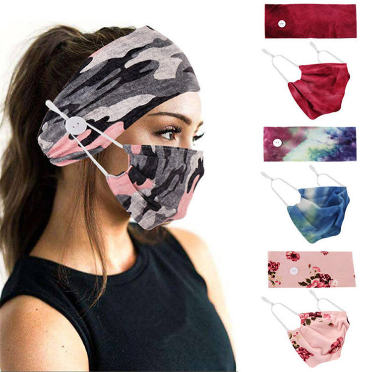 New Adjustable Fashion Woman Sport Elastic Yoga Headband with Button face mask Holder Printing Desgin Head Wrap