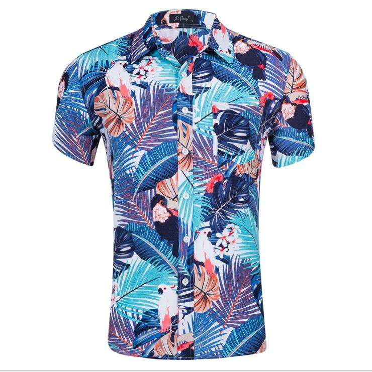 Summer Fashion Colorful Floral Print Short Sleeve Hawaii Beach Men Shirt