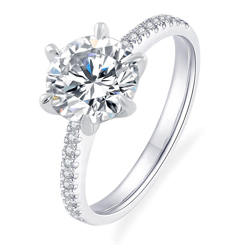 6-prongs classic 14k white gold fine jewelry engagement ring with sparkle 6.5mm round cut moissanite DEF VVS