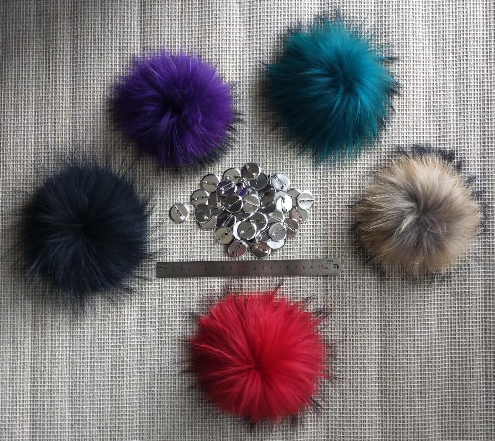 Fluffy and big detachable raccoon fur tassel pompom ball with clip pin for tuque cap