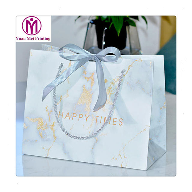 Ribbon decorate party favor supplies stamping paper gift bag with cut handle