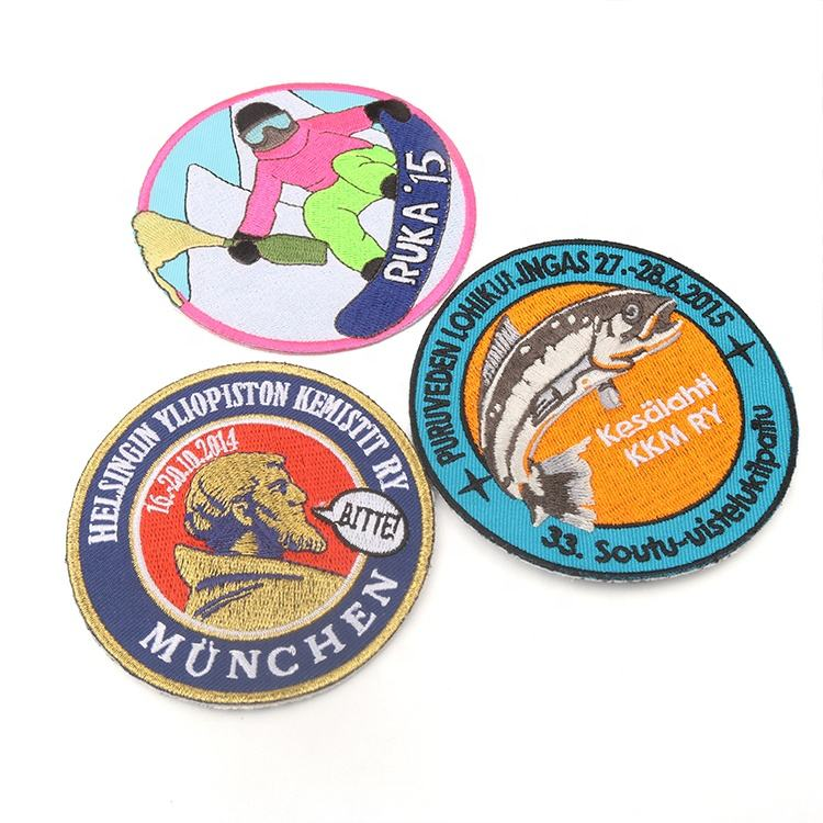Apparel Sewing Badges Maker Custom Letters Name Logo Machine Round Embroidery Patches for Uniforms