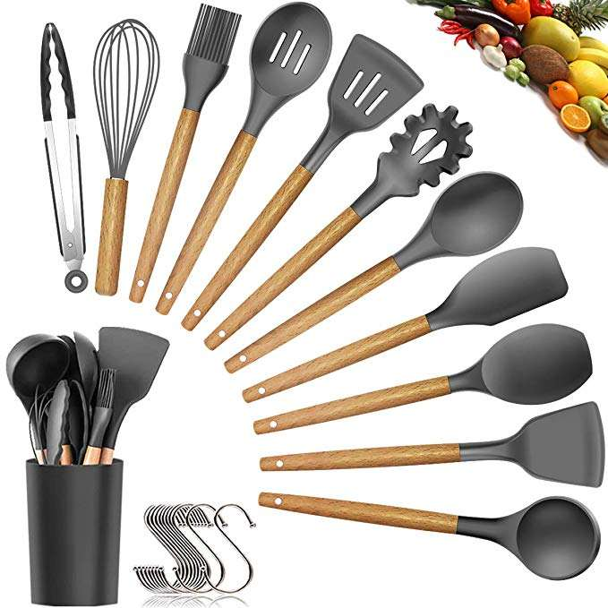 Colorful Kitchen Utensil Set Custom Silicone Utensils Kitchen With Wooden Handle