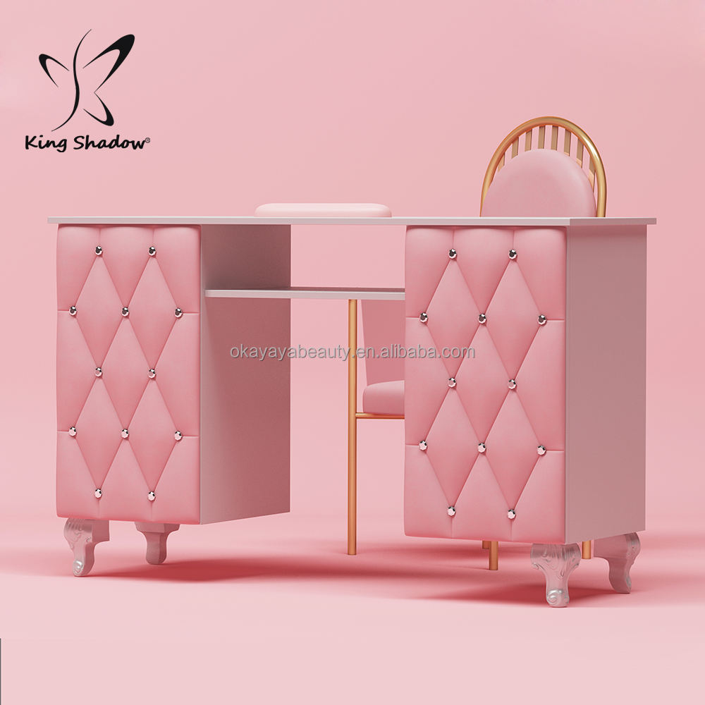 Nails salon furniture pink nail desk portable nail manicure table price