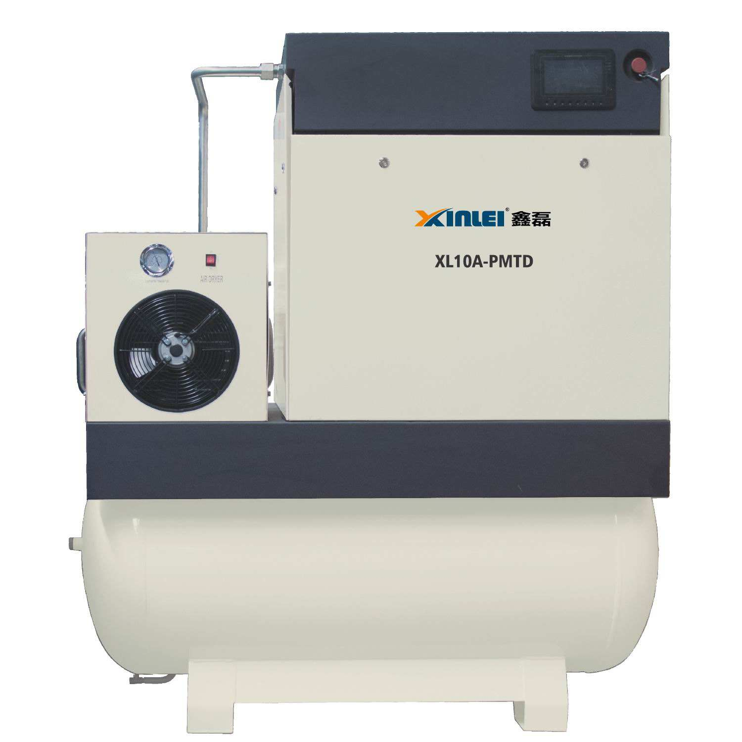 8bar 10bar 20HP 15KW XLPMTD20A-t815 screw air compressor with 500L air tank with air dryer with frequency inverter