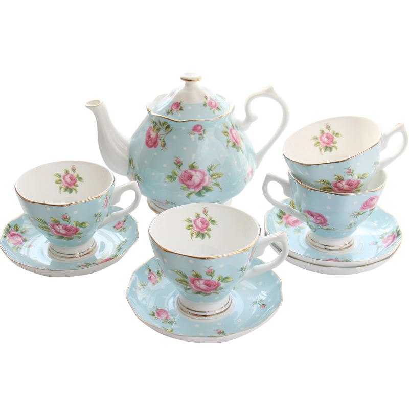 custom French elegant vintage ceramic wedding teapots and cups set