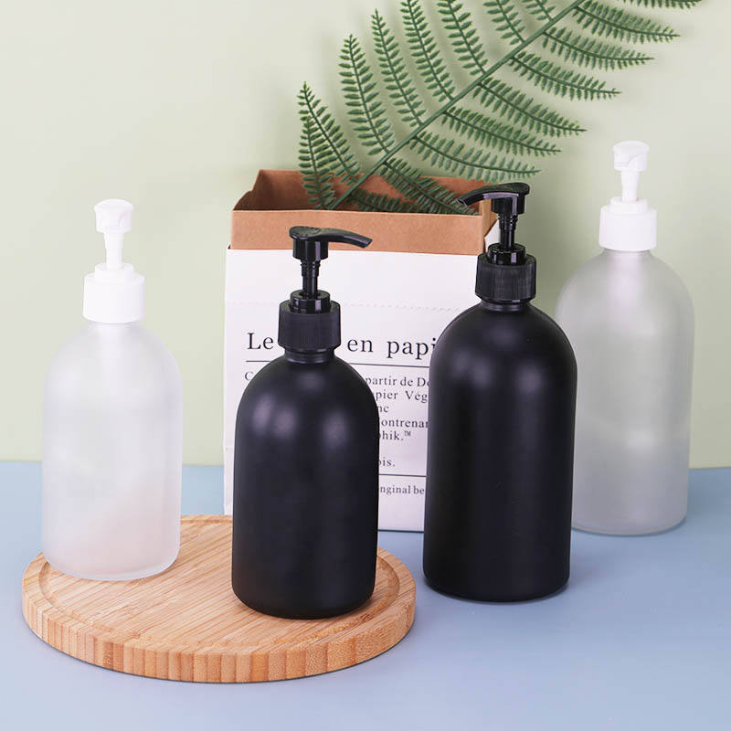 8oz 16oz 32oz Frosted Matt Black Foaming Soap Pump Bottle Glass Soap Dispenser Pump Bottle