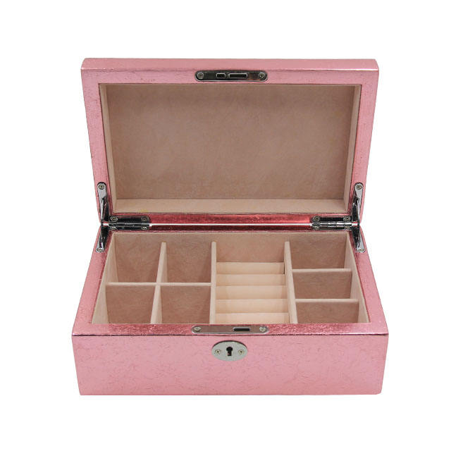 Modern latest custom-made pink box luxury velvet jewelry box wooden storage with ring set gloss luxury box