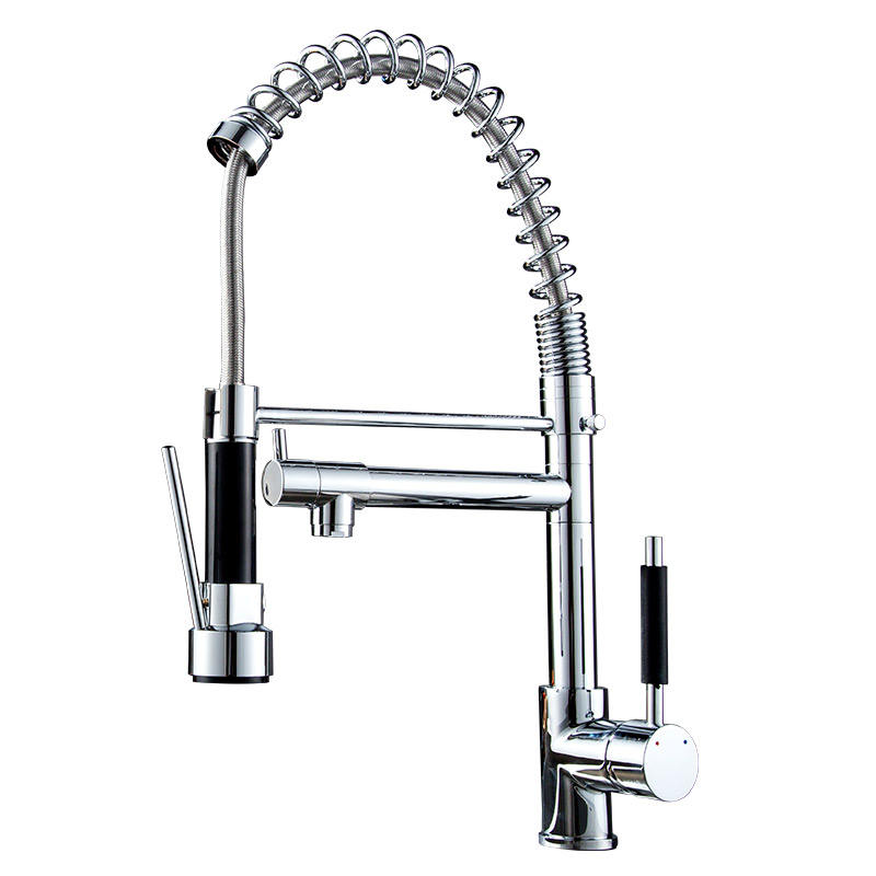 Superior quality chromeplate copper sink mixer tap single handle pull out kitchen faucet