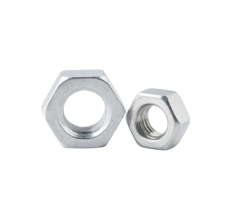 JIS ISO zinc hexagon nuts dip press sanitary galvanized thick M5 M6 0.75 aluminium hex nuts DIN934