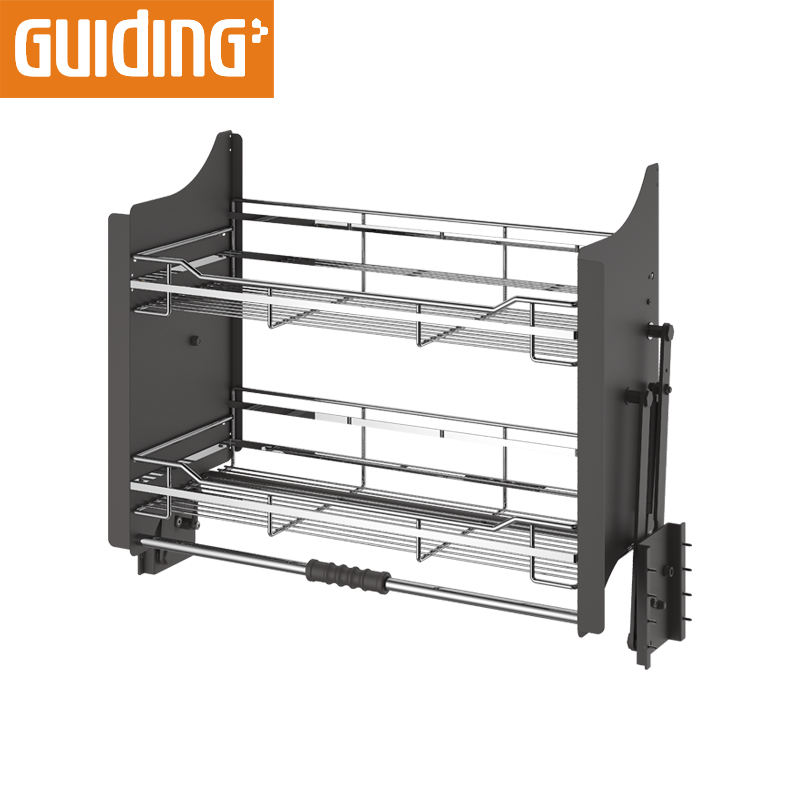 Pull out drawer multifunction wire basket in pantry cabinet