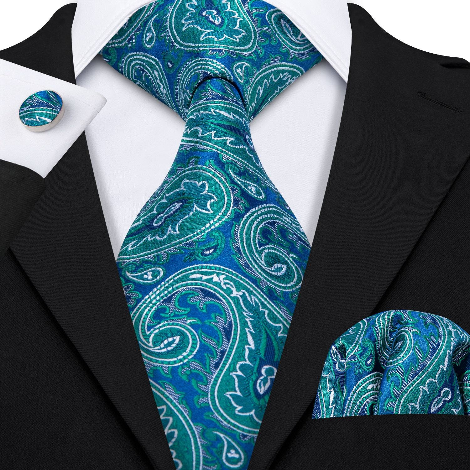 Green Blue Paisley Neckties Custom Logo Men's Silk Jacquard Ties
