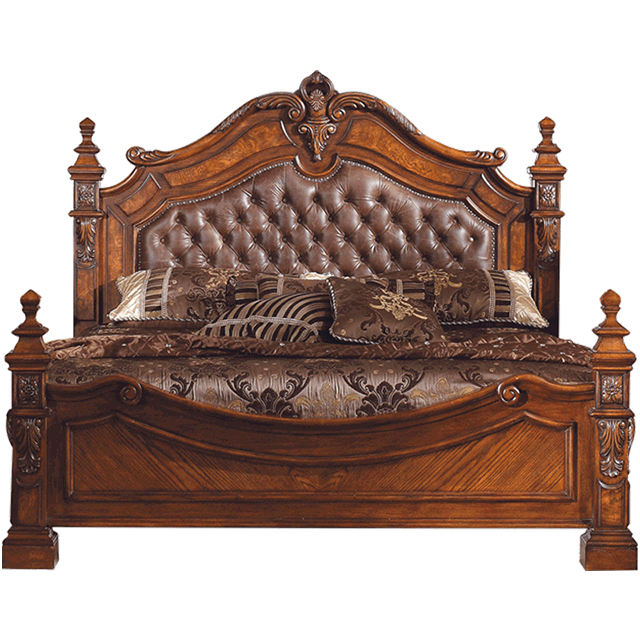 B232 American Classic Style Leather Bed Bedroom Wedding Bed European Retro Solid Wood Carved Double bed