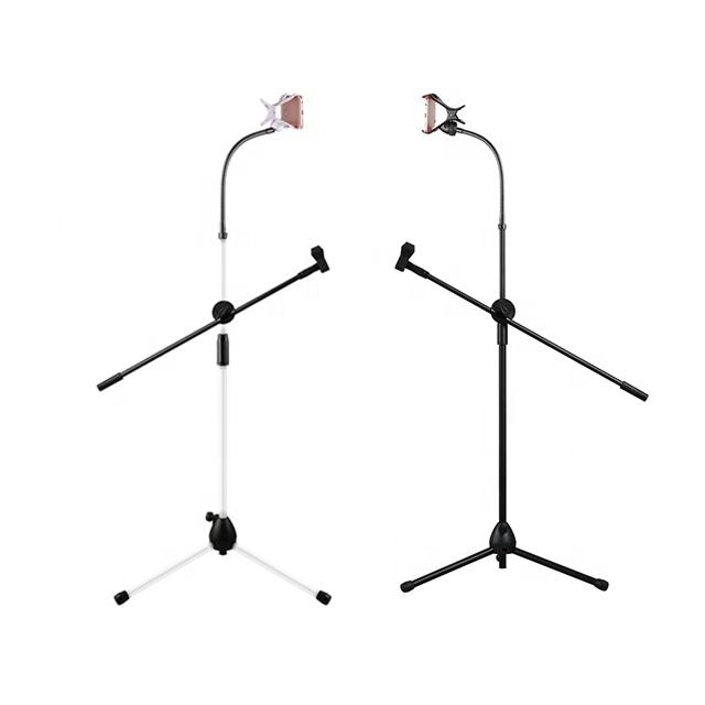 Live Broadcast Adjustable Flexible Stand Cell Microphone Bracket Tripod Phone Holder