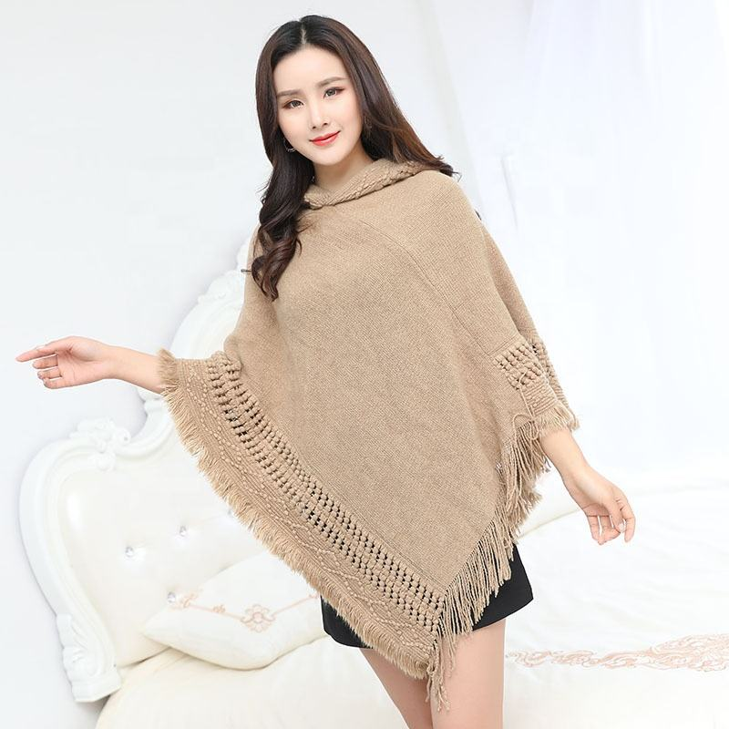 2020 Autumn/Winter Tassel Hooded Tricot Knitted Poncho For Women Ladies Cable