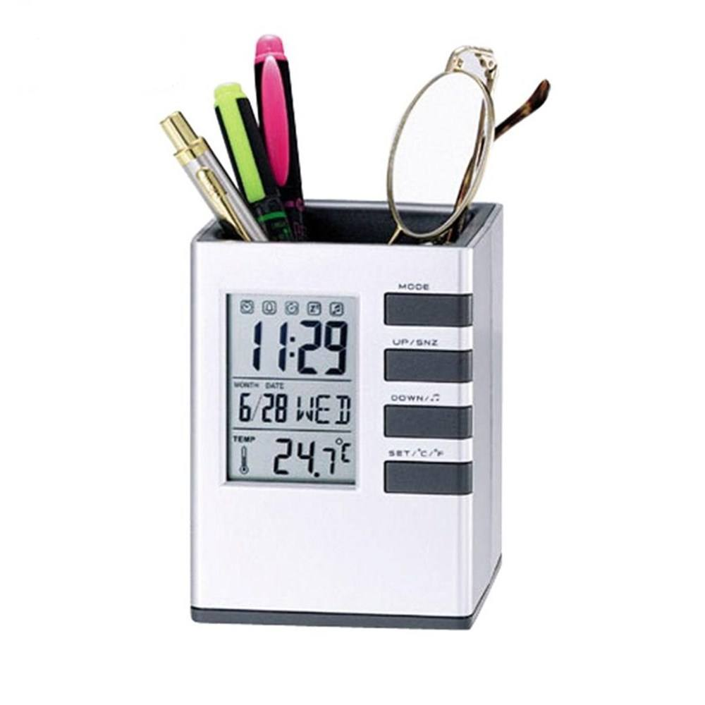 KH-CL058 Fashion Electronic Study Digital Alarm Clock Calendar Pen Holder with Seven World Fashion Songs