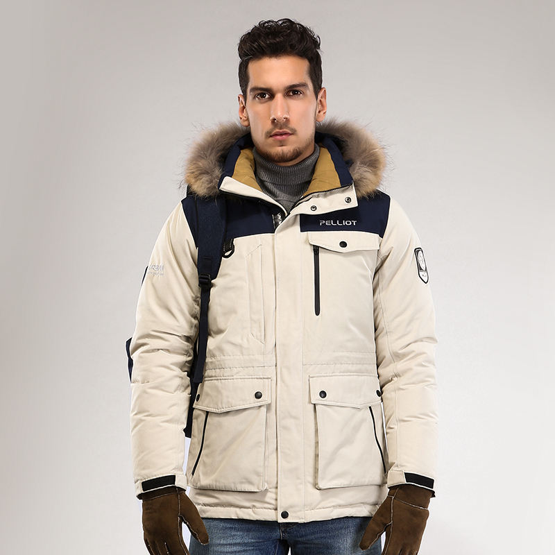 OEM fashion men winter down coat parka real fur collar outdoor down jacket warm