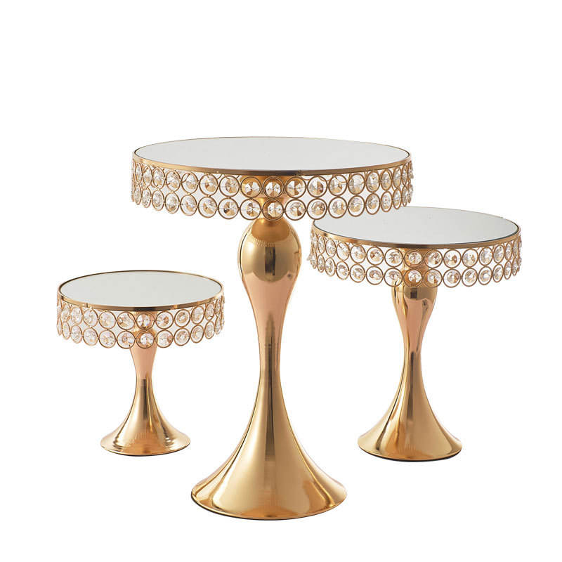 LDJ1268 Delicate Decorative Metal Display Cake Stand Set top gold plated Cake Stand