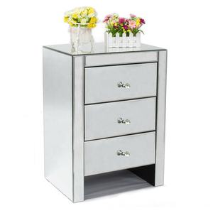 Modern Wood Mirrored Nightstand with 3 Drawer and Crystal Handles