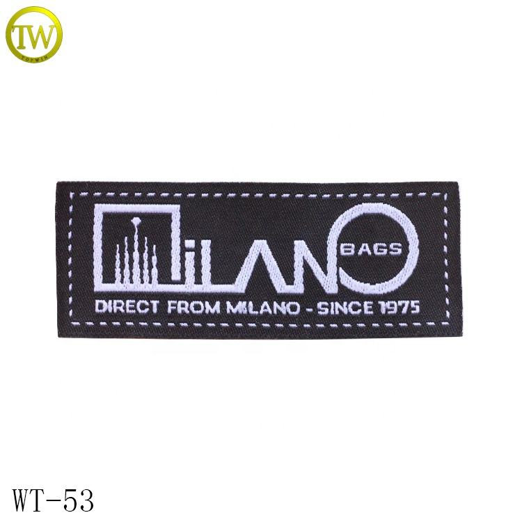Custom woven printed clothes labels white logos damask neck collar main tags for garment accessory