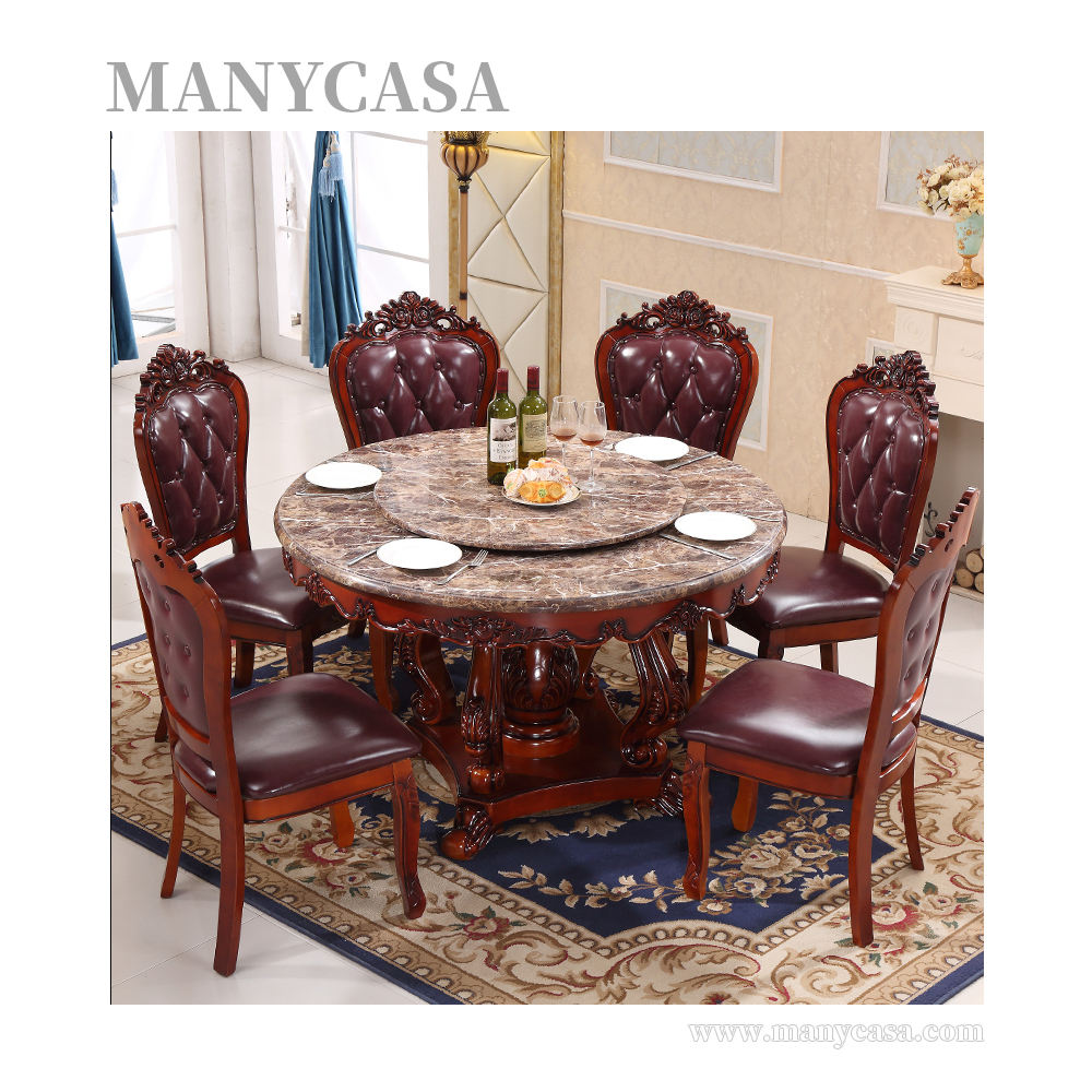 Popularity Luxury Wood Round Dining Table With Rotating Centre Marble Top Table 6 Chairs