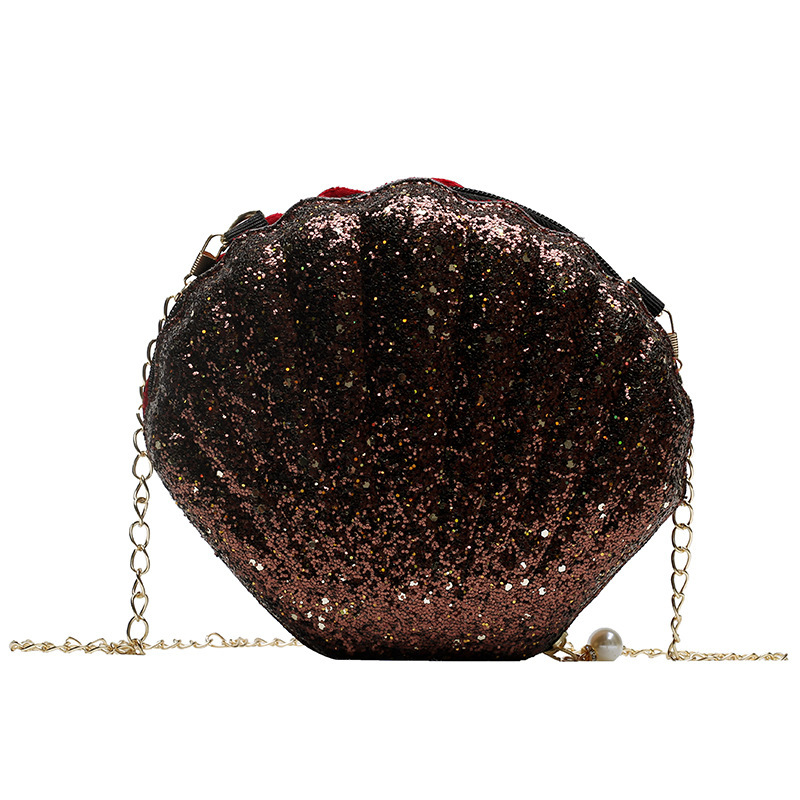 2019 Fashion Korean Pink Style PU Leather Sequins Shell Shape Cute Lady Chain Clutch Women Mini Purse