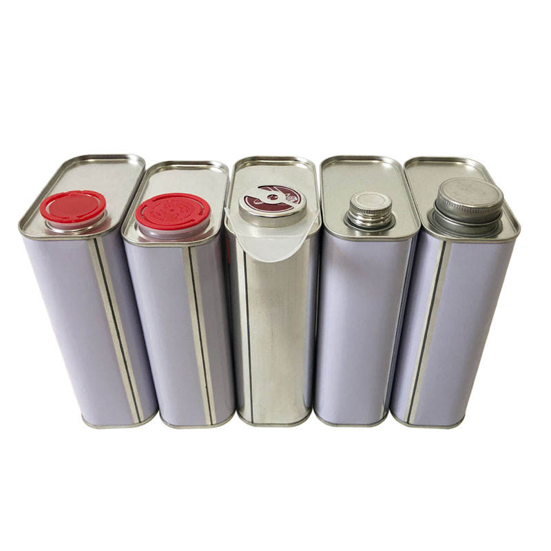 1liter OEM printed square metal chemical tin cans screw top paint oil container metal pail with lids for sale