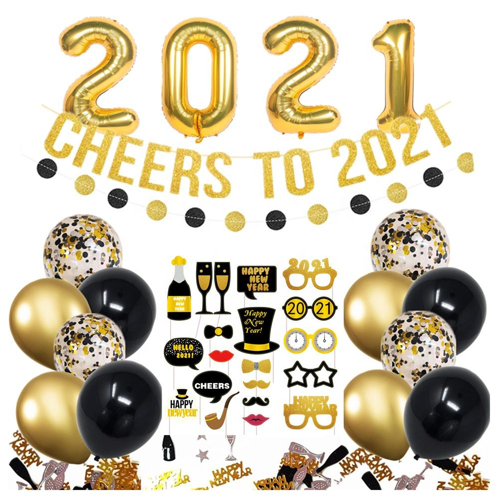 Pafu 2021 New Year Eve Party Supplies gold glitter cheers to 2021 banner circle garland chrome balloon 2021 new year decoration
